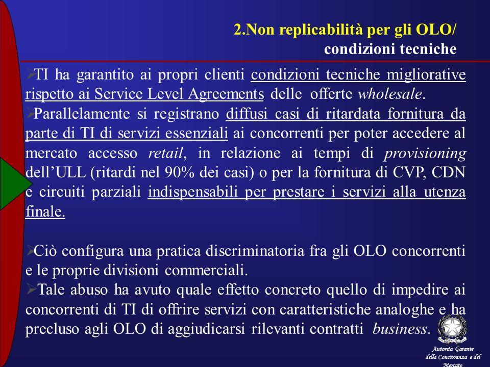 Autorità Garante della Concorrenza e del Mercato 2.Non replicabilità per gli OLO/ condizioni tecniche TI ha garantito ai propri clienti condizioni tec