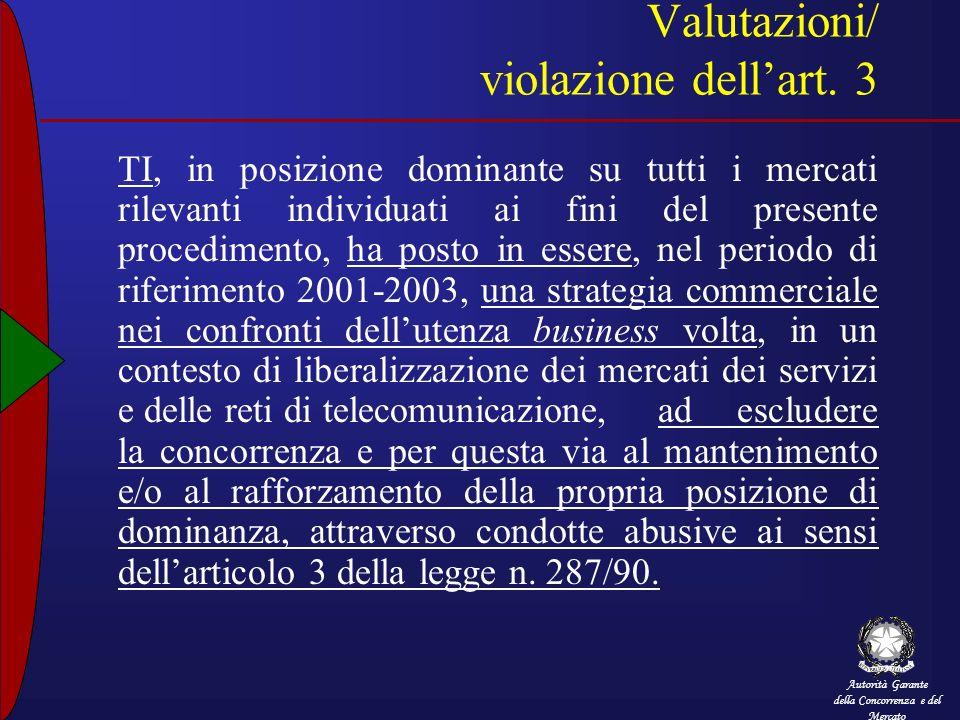 Autorità Garante della Concorrenza e del Mercato Valutazioni/ violazione dellart. 3 TI, in posizione dominante su tutti i mercati rilevanti individuat