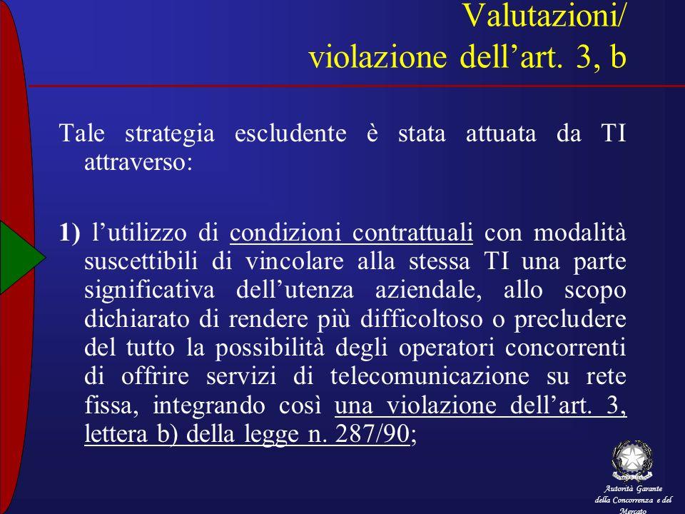 Autorità Garante della Concorrenza e del Mercato Valutazioni/ violazione dellart. 3, b Tale strategia escludente è stata attuata da TI attraverso: 1)