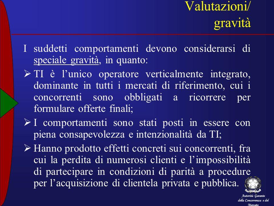 Autorità Garante della Concorrenza e del Mercato Valutazioni/ gravità I suddetti comportamenti devono considerarsi di speciale gravità, in quanto: TI