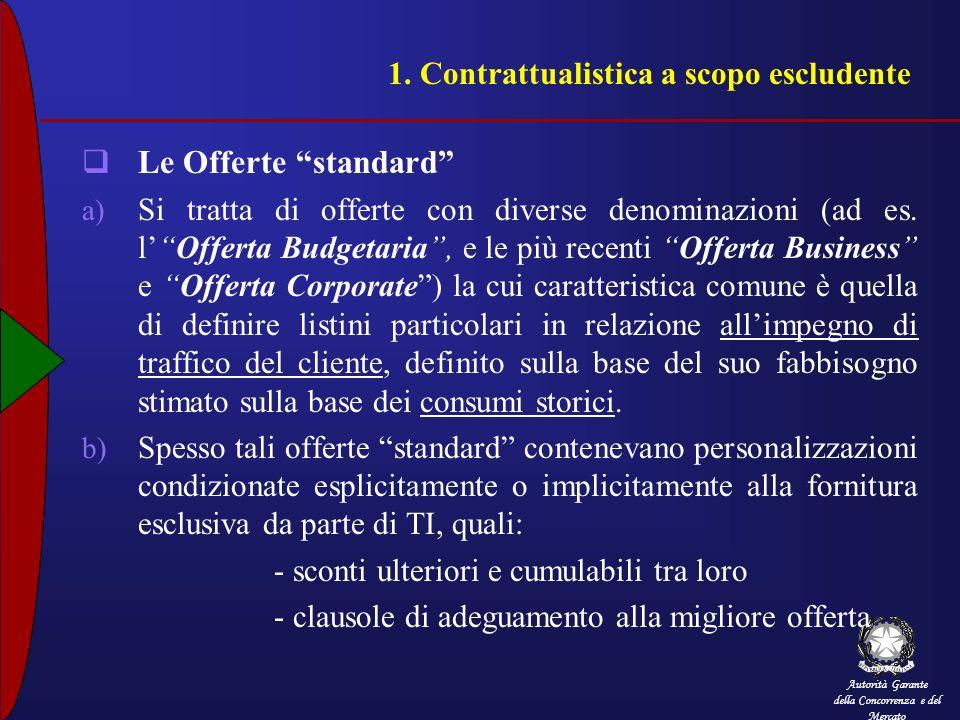 Autorità Garante della Concorrenza e del Mercato 1. Contrattualistica a scopo escludente Le Offerte standard a) Si tratta di offerte con diverse denom