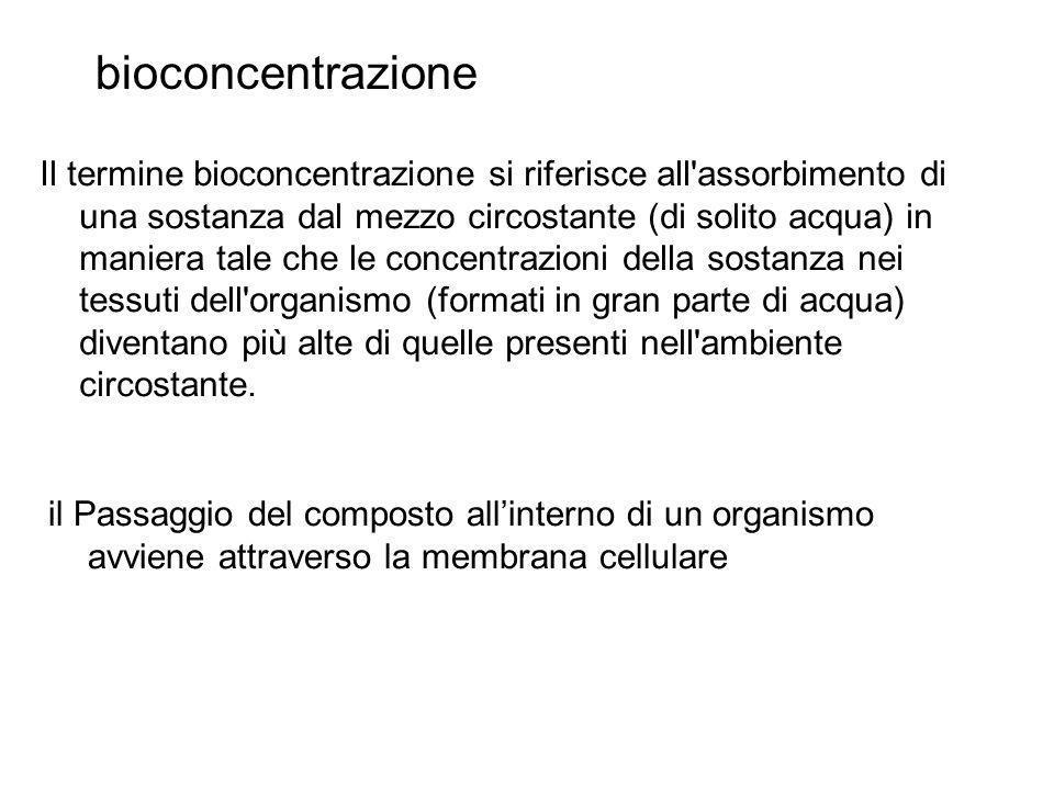 fattore di bioconcentrazione (BCF, BioConcentration Factor) il rapporto tra la concentrazione nell organismo e quella nel mezzo circostante dove k1 e k2 sono rispettivamente la costante di assorbimento e di rilascio.
