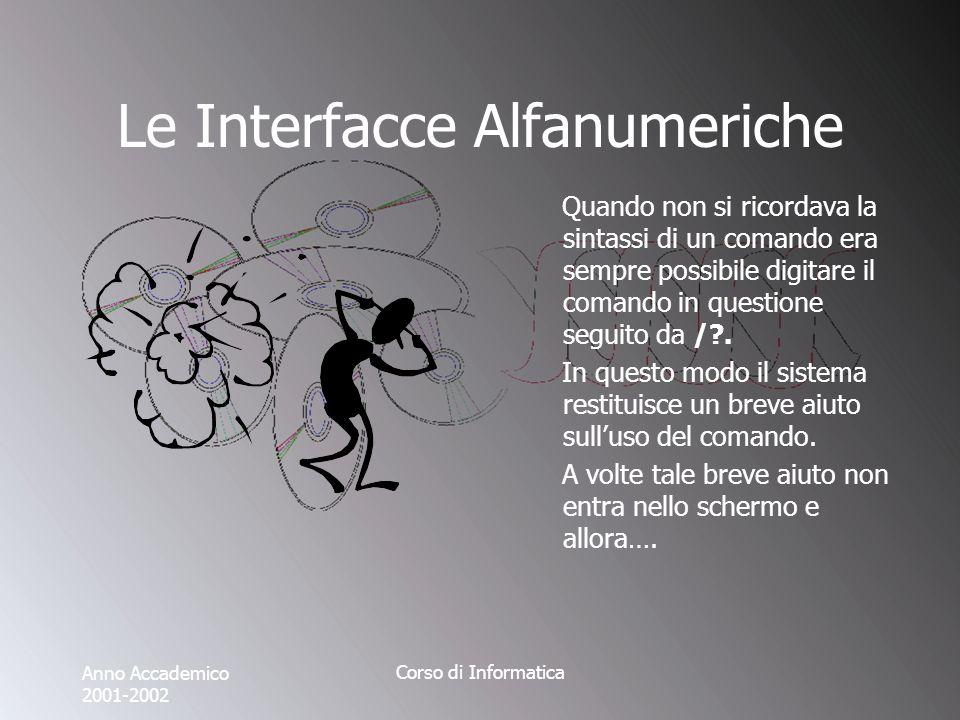 Anno Accademico 2001-2002 Corso di Informatica Le Interfacce Alfanumeriche Quando non si ricordava la sintassi di un comando era sempre possibile digitare il comando in questione seguito da / .