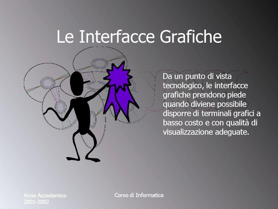 Anno Accademico 2001-2002 Corso di Informatica Le Interfacce Grafiche Da un punto di vista tecnologico, le interfacce grafiche prendono piede quando diviene possibile disporre di terminali grafici a basso costo e con qualità di visualizzazione adeguate.