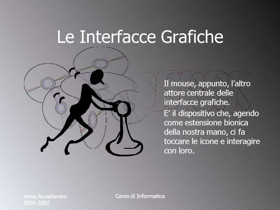 Anno Accademico 2001-2002 Corso di Informatica Le Interfacce Grafiche Il mouse, appunto, laltro attore centrale delle interfacce grafiche.