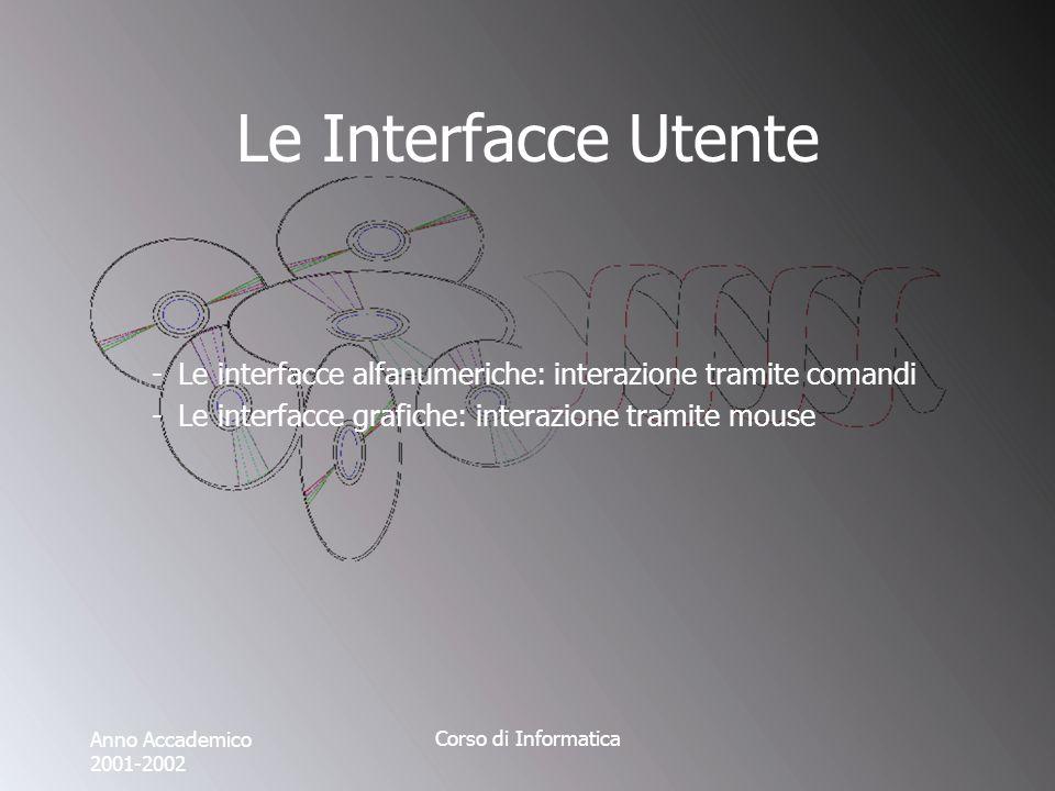 Anno Accademico 2001-2002 Corso di Informatica Le Interfacce Utente -Le interfacce alfanumeriche: interazione tramite comandi -Le interfacce grafiche: interazione tramite mouse