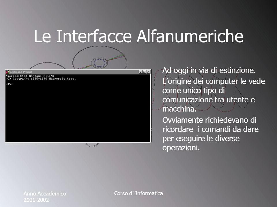 Anno Accademico 2001-2002 Corso di Informatica Le Interfacce Alfanumeriche Esempi di comandi: - dir - format - chkdsk - fdisk - sys - at -...