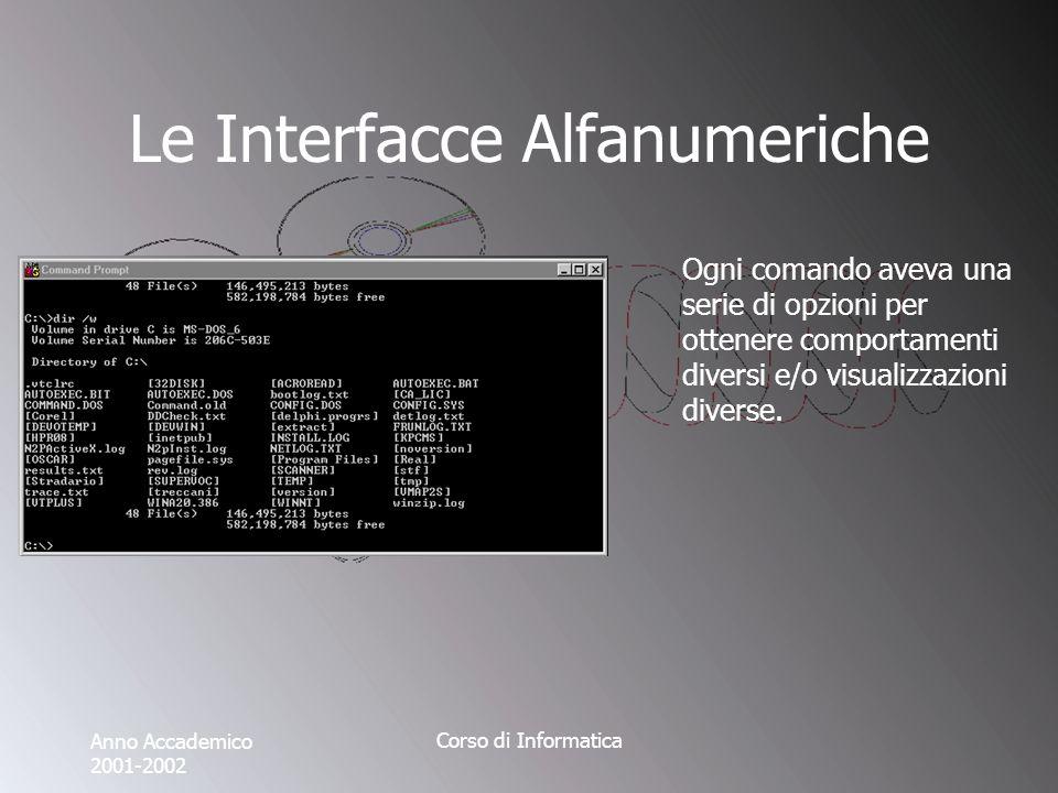 Anno Accademico 2001-2002 Corso di Informatica Le Interfacce Alfanumeriche Ogni comando aveva una serie di opzioni per ottenere comportamenti diversi e/o visualizzazioni diverse.