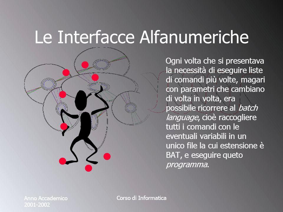 Anno Accademico 2001-2002 Corso di Informatica Le Interfacce Grafiche Lo stesso puntatore del mouse si avvale di diverse rappresentazioni per poter trasmettere informazione allutente.