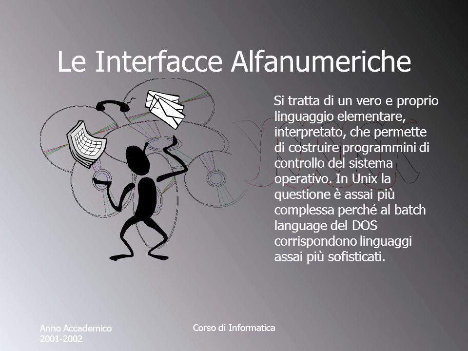 Anno Accademico 2001-2002 Corso di Informatica Le Interfacce Alfanumeriche Si tratta di un vero e proprio linguaggio elementare, interpretato, che permette di costruire programmini di controllo del sistema operativo.