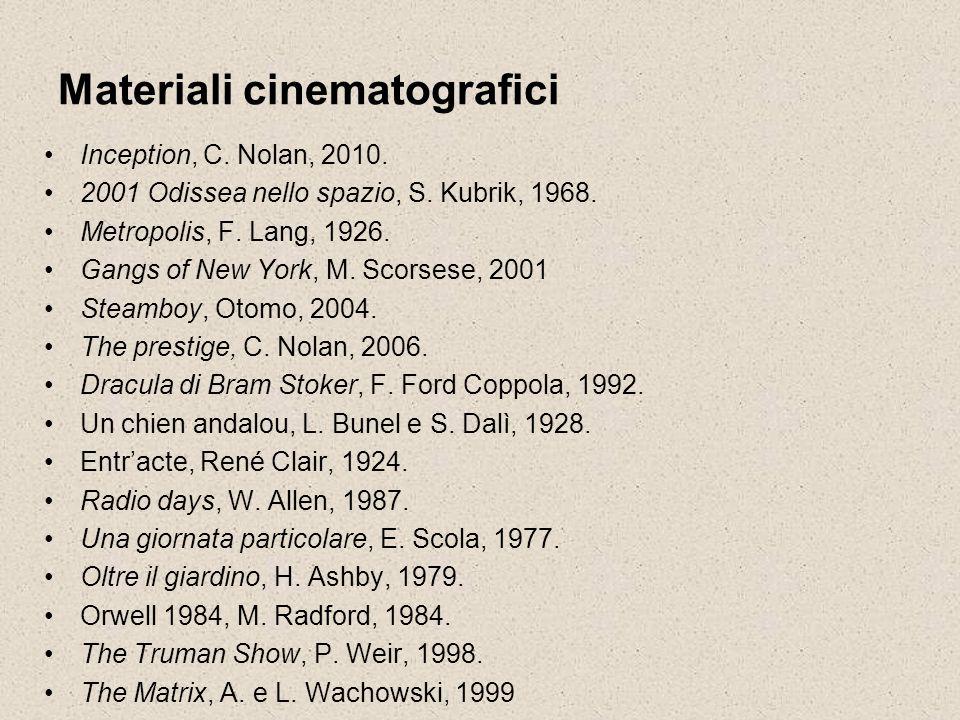 Materiali cinematografici Inception, C. Nolan, 2010. 2001 Odissea nello spazio, S. Kubrik, 1968. Metropolis, F. Lang, 1926. Gangs of New York, M. Scor