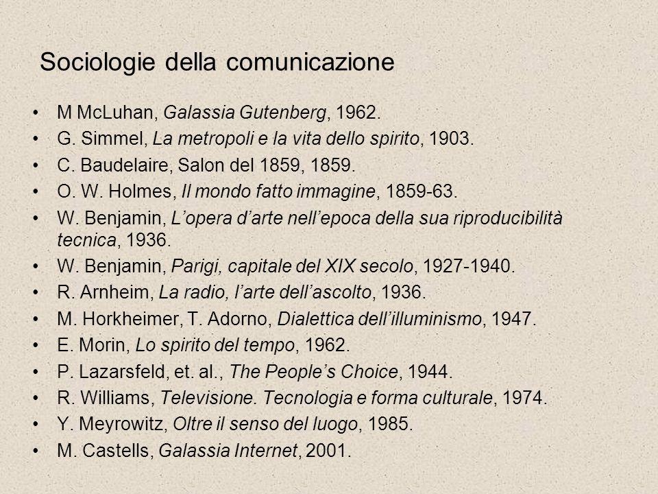 Sociologie della comunicazione M McLuhan, Galassia Gutenberg, 1962. G. Simmel, La metropoli e la vita dello spirito, 1903. C. Baudelaire, Salon del 18