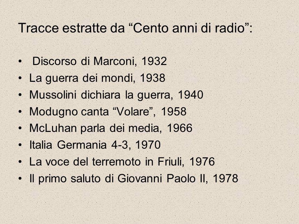 Tracce estratte da Cento anni di radio: Discorso di Marconi, 1932 La guerra dei mondi, 1938 Mussolini dichiara la guerra, 1940 Modugno canta Volare, 1