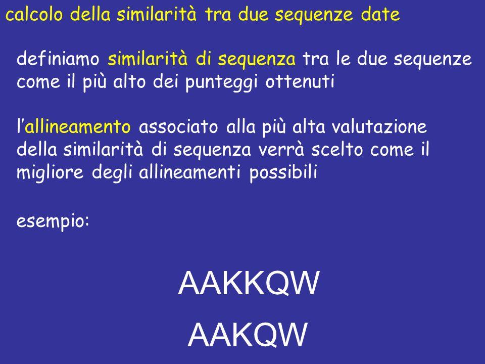 calcolo della similarità tra due sequenze date lallineamento associato alla più alta valutazione della similarità di sequenza verrà scelto come il migliore degli allineamenti possibili esempio: AAKKQW AAKQW definiamo similarità di sequenza tra le due sequenze come il più alto dei punteggi ottenuti