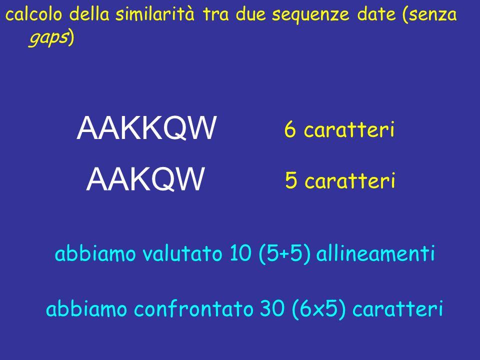 calcolo della similarità tra due sequenze date (senza gaps) AAKQW AAKKQW 6 caratteri 5 caratteri abbiamo valutato 10 (5+5) allineamenti abbiamo confrontato 30 (6x5) caratteri