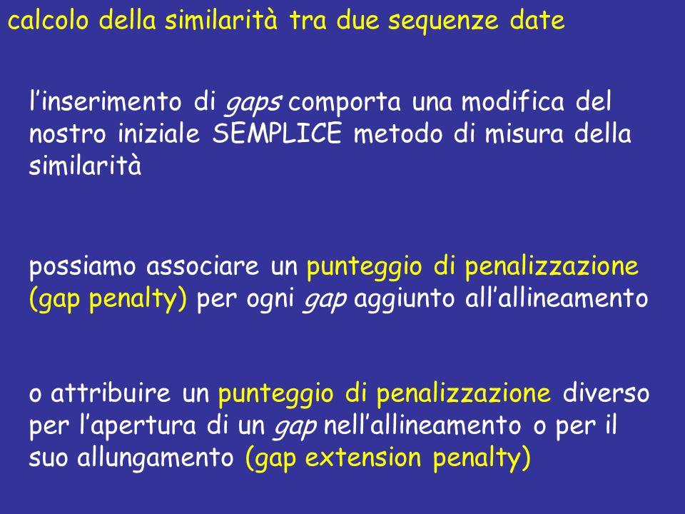calcolo della similarità tra due sequenze date linserimento di gaps comporta una modifica del nostro iniziale SEMPLICE metodo di misura della similarità possiamo associare un punteggio di penalizzazione (gap penalty) per ogni gap aggiunto allallineamento o attribuire un punteggio di penalizzazione diverso per lapertura di un gap nellallineamento o per il suo allungamento (gap extension penalty)