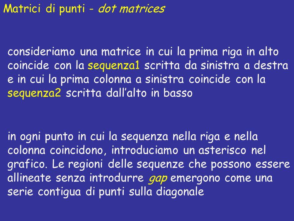 Matrici di punti - dot matrices consideriamo una matrice in cui la prima riga in alto coincide con la sequenza1 scritta da sinistra a destra e in cui