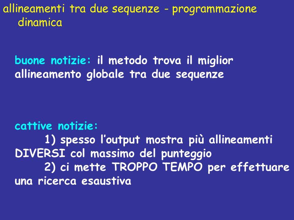allineamenti tra due sequenze - programmazione dinamica buone notizie: il metodo trova il miglior allineamento globale tra due sequenze cattive notizi