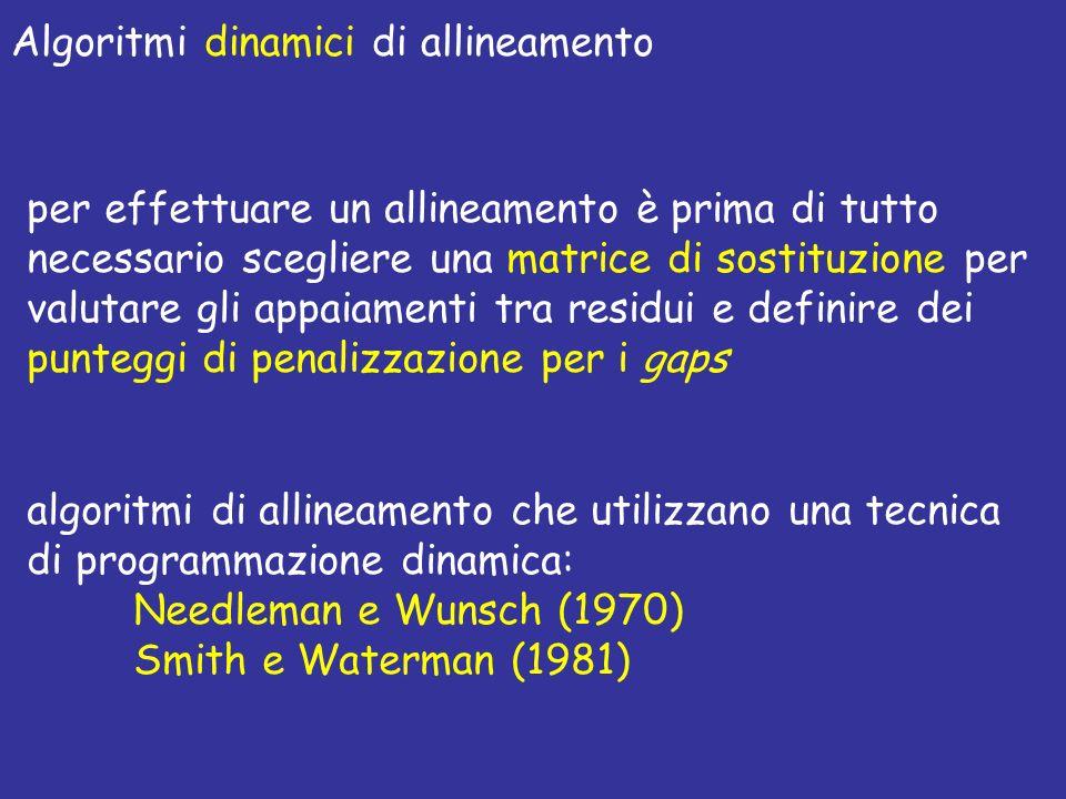 Algoritmi dinamici di allineamento per effettuare un allineamento è prima di tutto necessario scegliere una matrice di sostituzione per valutare gli appaiamenti tra residui e definire dei punteggi di penalizzazione per i gaps algoritmi di allineamento che utilizzano una tecnica di programmazione dinamica: Needleman e Wunsch (1970) Smith e Waterman (1981)