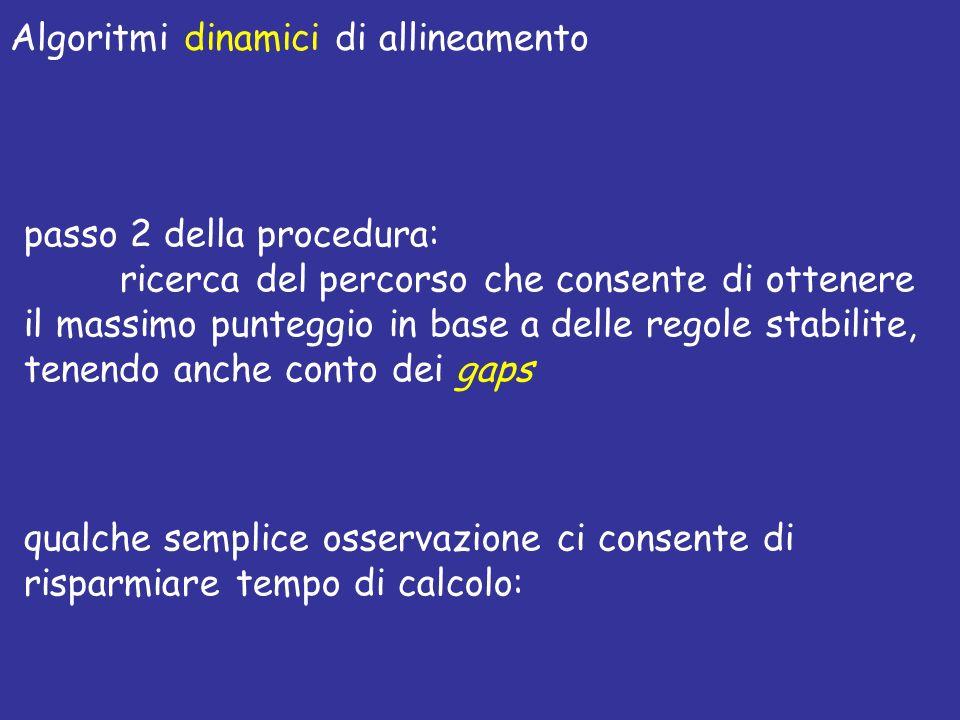 passo 2 della procedura: ricerca del percorso che consente di ottenere il massimo punteggio in base a delle regole stabilite, tenendo anche conto dei