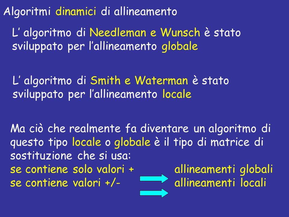 Algoritmi dinamici di allineamento L algoritmo di Needleman e Wunsch è stato sviluppato per lallineamento globale L algoritmo di Smith e Waterman è st