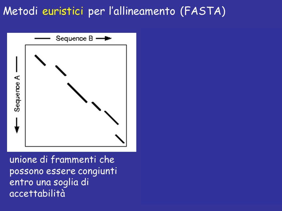 applicazione di S&W su una stretta banda per ottimizzare lallineamento Metodi euristici per lallineamento (FASTA) unione di frammenti che possono essere congiunti entro una soglia di accettabilità