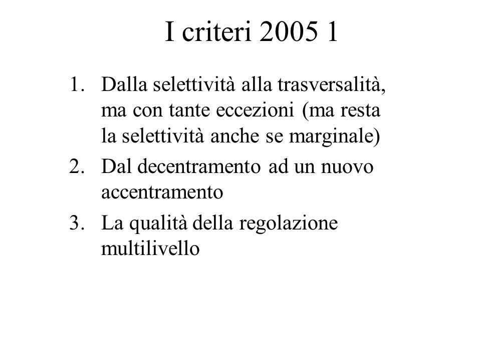 I criteri 2005 1 1.Dalla selettività alla trasversalità, ma con tante eccezioni (ma resta la selettività anche se marginale) 2.Dal decentramento ad un nuovo accentramento 3.La qualità della regolazione multilivello