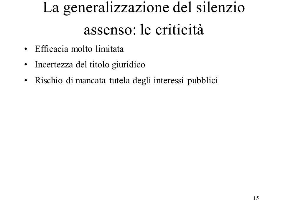 15 La generalizzazione del silenzio assenso: le criticità Efficacia molto limitata Incertezza del titolo giuridico Rischio di mancata tutela degli interessi pubblici
