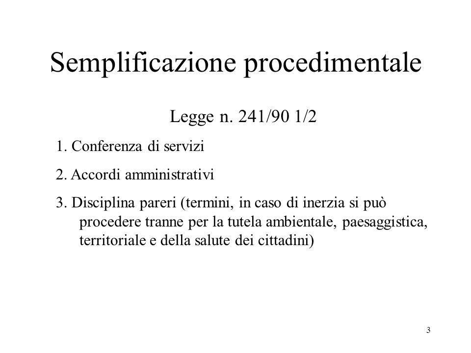 3 Semplificazione procedimentale Legge n. 241/90 1/2 1.