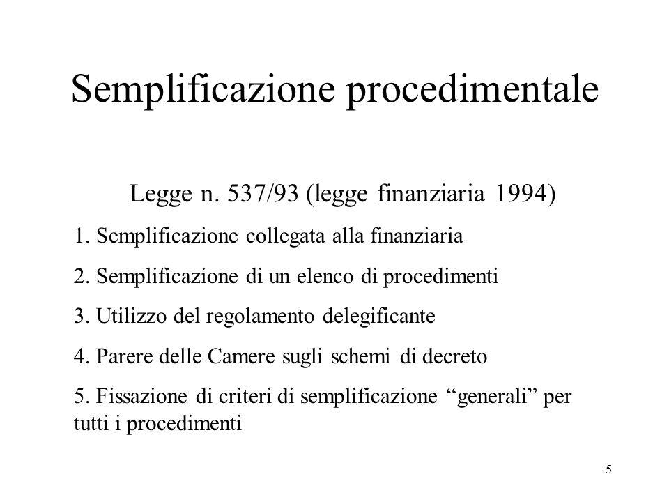 5 Semplificazione procedimentale Legge n. 537/93 (legge finanziaria 1994) 1.