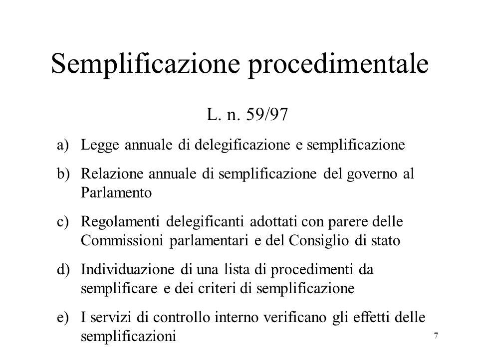 7 Semplificazione procedimentale L. n.