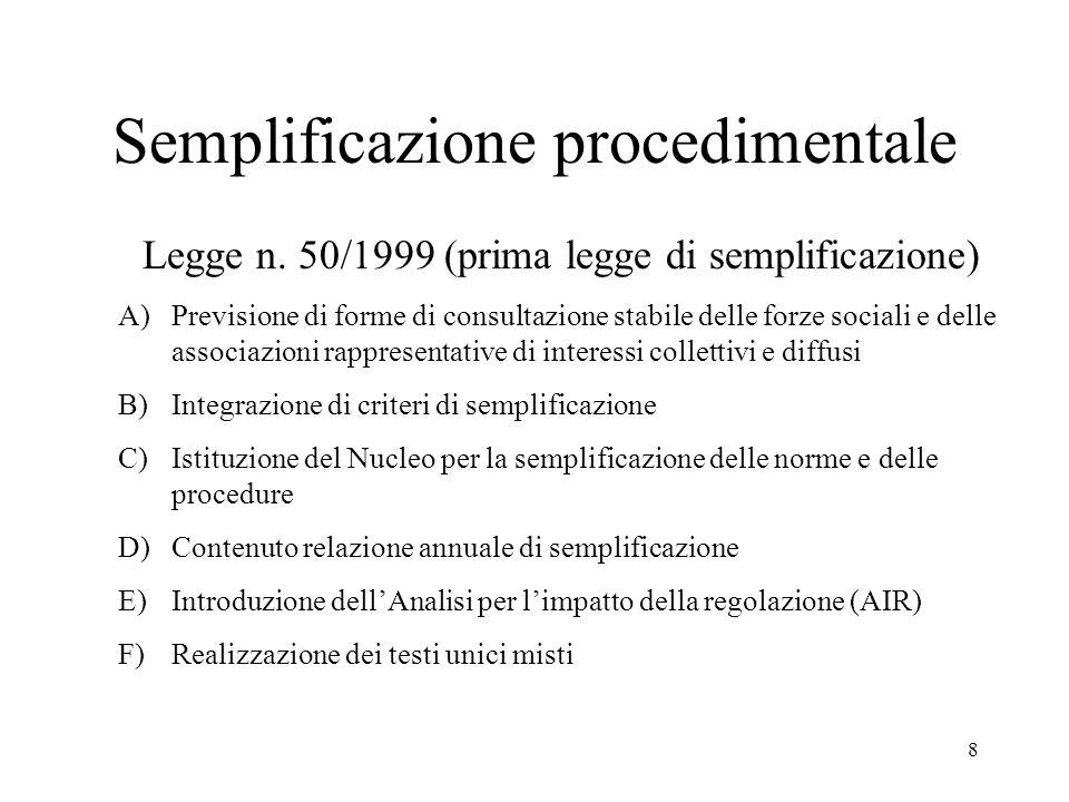 8 Semplificazione procedimentale Legge n.
