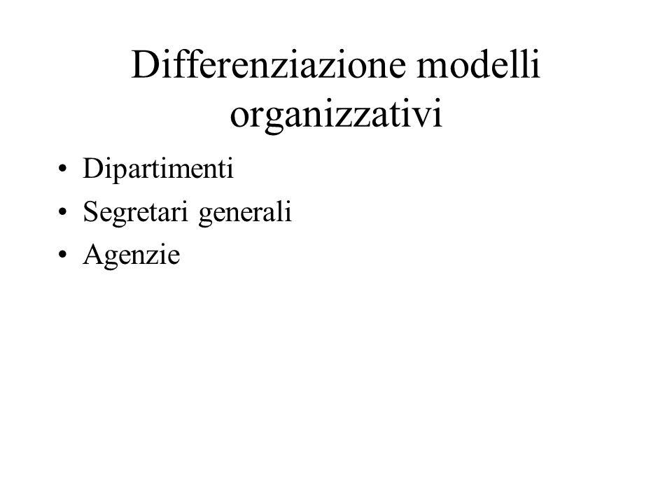 Differenziazione modelli organizzativi Dipartimenti Segretari generali Agenzie