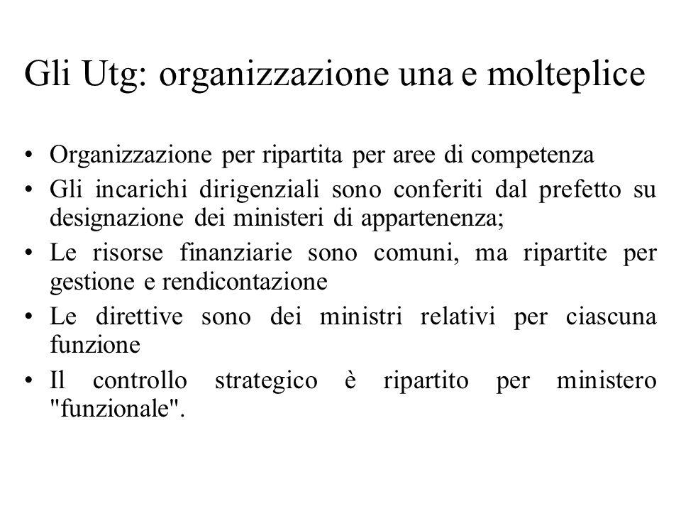 Gli Utg: organizzazione una e molteplice Organizzazione per ripartita per aree di competenza Gli incarichi dirigenziali sono conferiti dal prefetto su