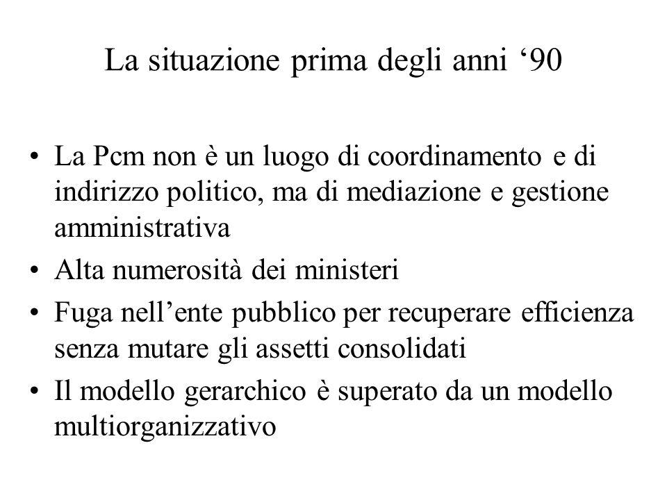 La situazione prima degli anni 90 La Pcm non è un luogo di coordinamento e di indirizzo politico, ma di mediazione e gestione amministrativa Alta nume