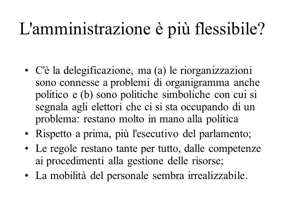 L'amministrazione è più flessibile? C'è la delegificazione, ma (a) le riorganizzazioni sono connesse a problemi di organigramma anche politico e (b) s