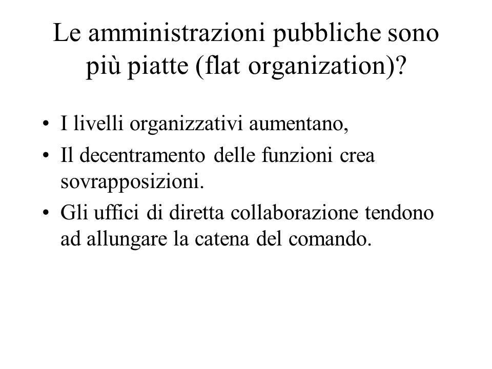 Le amministrazioni pubbliche sono più piatte (flat organization)? I livelli organizzativi aumentano, Il decentramento delle funzioni crea sovrapposizi