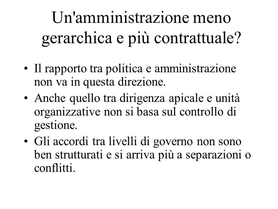 Un'amministrazione meno gerarchica e più contrattuale? Il rapporto tra politica e amministrazione non va in questa direzione. Anche quello tra dirigen