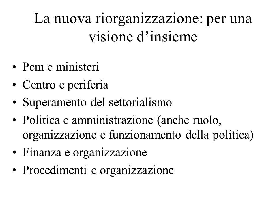 La nuova riorganizzazione: per una visione dinsieme Pcm e ministeri Centro e periferia Superamento del settorialismo Politica e amministrazione (anche