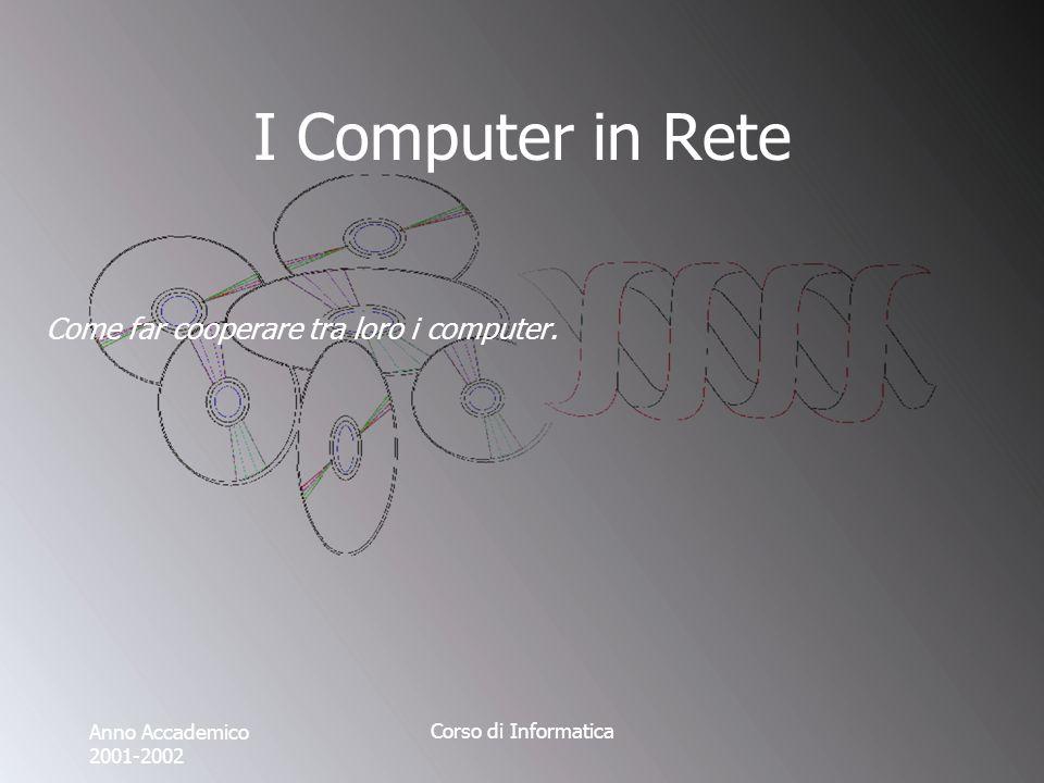 Anno Accademico 2001-2002 Corso di Informatica I Computer in Rete Come far cooperare tra loro i computer.