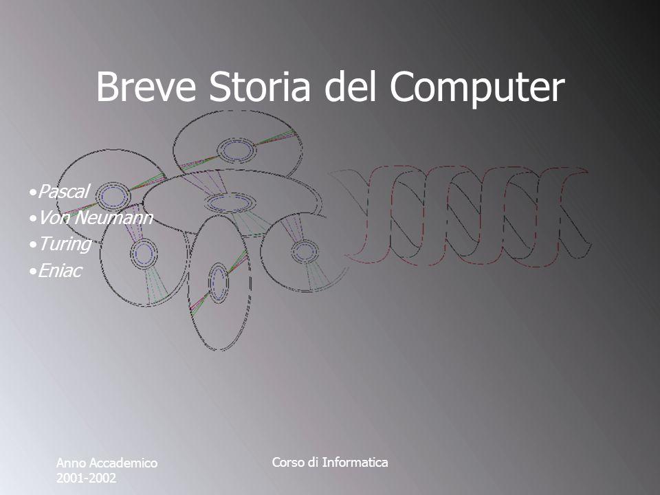 Anno Accademico 2001-2002 Corso di Informatica Breve Storia del Computer Pascal Von Neumann Turing Eniac