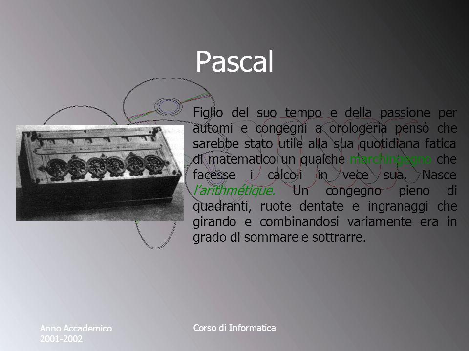 Anno Accademico 2001-2002 Corso di Informatica Pascal Figlio del suo tempo e della passione per automi e congegni a orologeria pensò che sarebbe stato utile alla sua quotidiana fatica di matematico un qualche marchingegno che facesse i calcoli in vece sua.