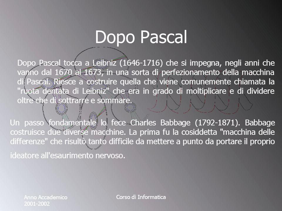 Anno Accademico 2001-2002 Corso di Informatica Dopo Pascal Dopo Pascal tocca a Leibniz (1646-1716) che si impegna, negli anni che vanno dal 1670 al 1673, in una sorta di perfezionamento della macchina di Pascal.