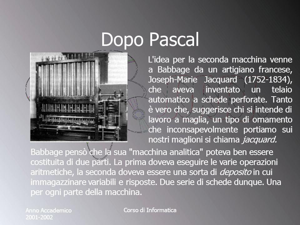 Anno Accademico 2001-2002 Corso di Informatica Dopo Pascal L idea per la seconda macchina venne a Babbage da un artigiano francese, Joseph-Marie Jacquard (1752-1834), che aveva inventato un telaio automatico a schede perforate.