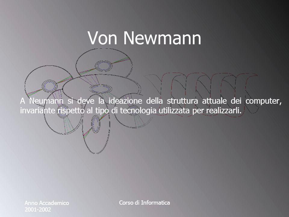 Anno Accademico 2001-2002 Corso di Informatica Von Newmann A Neumann si deve la ideazione della struttura attuale dei computer, invariante rispetto al tipo di tecnologia utilizzata per realizzarli.