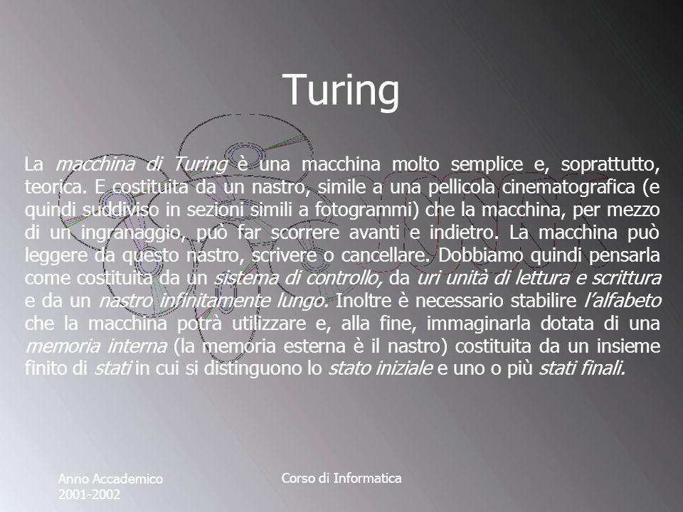 Anno Accademico 2001-2002 Corso di Informatica Turing La macchina di Turing è una macchina molto semplice e, soprattutto, teorica.