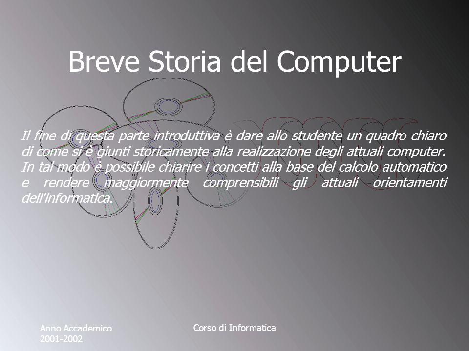 Anno Accademico 2001-2002 Corso di Informatica Breve Storia del Computer Il fine di questa parte introduttiva è dare allo studente un quadro chiaro di come si è giunti storicamente alla realizzazione degli attuali computer.