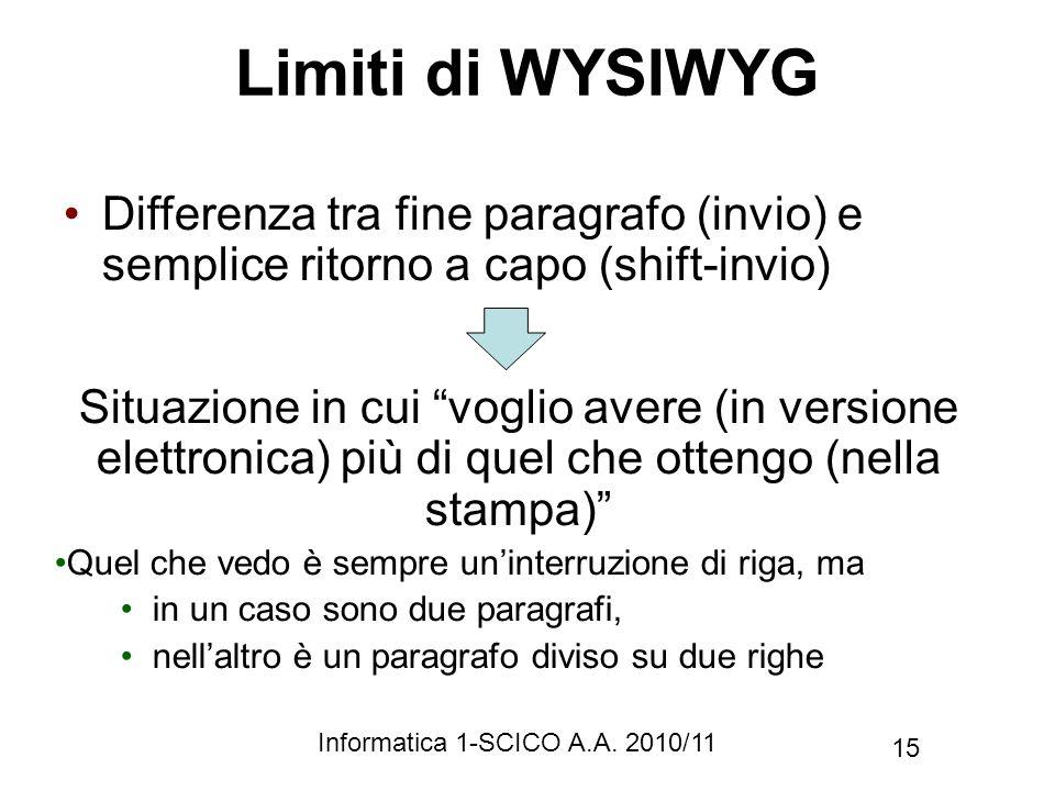 Informatica 1-SCICO A.A. 2010/11 15 Limiti di WYSIWYG Differenza tra fine paragrafo (invio) e semplice ritorno a capo (shift-invio) Situazione in cui