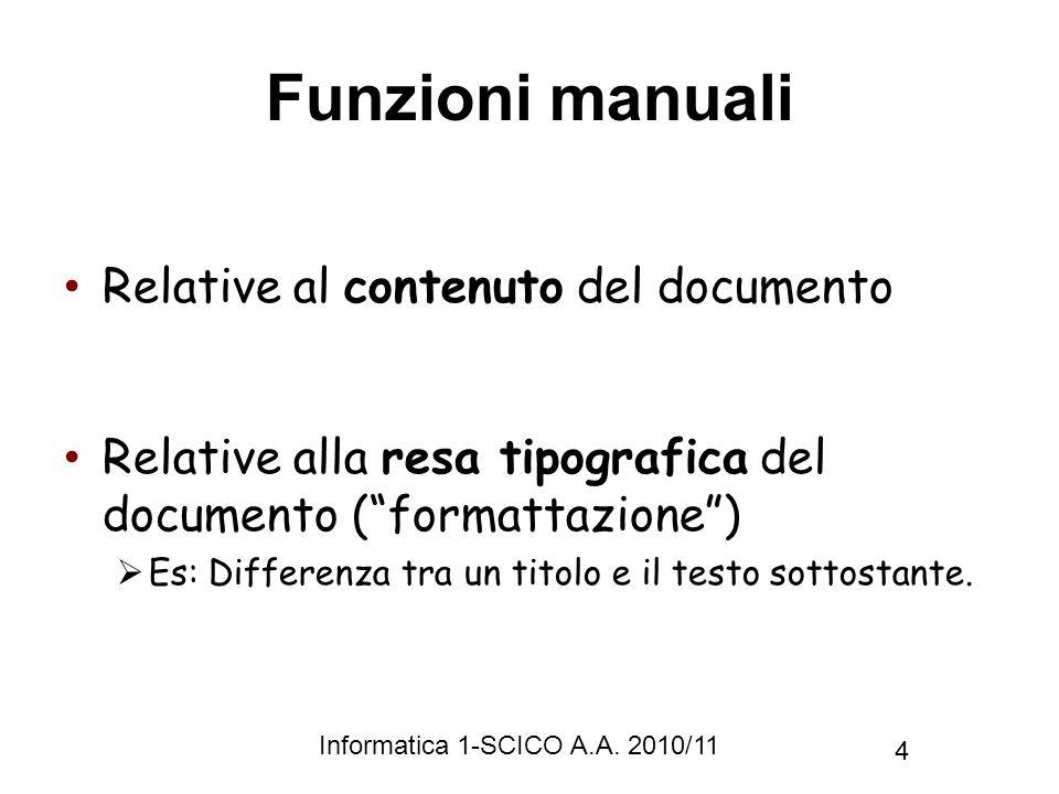 Informatica 1-SCICO A.A. 2010/11 4 Funzioni manuali Relative al contenuto del documento Relative alla resa tipografica del documento (formattazione) E