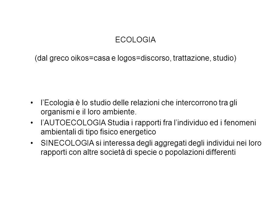 ECOLOGIA (dal greco oikos=casa e logos=discorso, trattazione, studio) lEcologia è lo studio delle relazioni che intercorrono tra gli organismi e il lo
